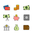 finance flat line icons vector image vector image