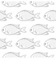 fish black outline sketch seamless background vector image vector image