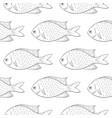 fish black outline sketch seamless background vector image