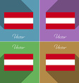 Flags Austria Set of colors flat design and long vector image vector image
