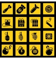 Flat icons set with bombs vector image