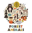 forest animals in circle scandinavian vector image