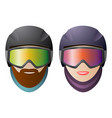 front view man and woman snowboarders classic vector image