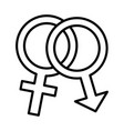 genders male and female symbols line style icon