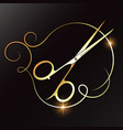 gold scissors and lock hair for beauty salon vector image vector image