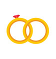 gold wedding two rings isolated flat vector image