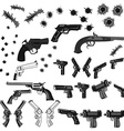 guns and bullet holes set vector image vector image