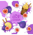 ice cream with fig taste dessert colorful poster vector image vector image