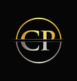 initial gold and silver color cp letter logo vector image vector image