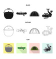 isolated object of fish and fishing icon set of vector image