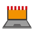 Laptop computer shopping store icon vector image vector image