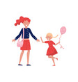 little girl with balloon in hand running towards vector image vector image