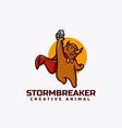 logo thor bear mascot cartoon style vector image vector image