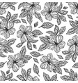 monochrome flowers hibiscus seamless pattern vector image