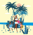 mother with child girl and boy in bikini with vector image