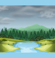 mountain scene with river vector image