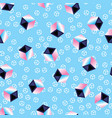 multicolored 3d cubes on blue pattern background vector image