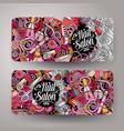 nail art hand drawn doodle banners set cartoon