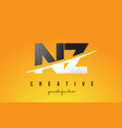 nz n z letter modern logo design with yellow vector image vector image