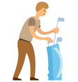 player with golf stand bag full sticks golfing vector image