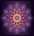 purple mandala ornamental pattern in dark vector image vector image