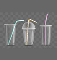 red plastic disposable cup takeaway drink vector image