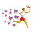 running torchbearer lot viruses are chasing vector image vector image