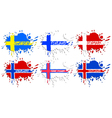 Scandinavian flags as spots vector image