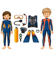 scuba divers and different equipments vector image vector image