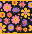 seamless pattern with flowers colorful endless vector image