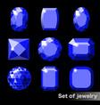 set blue gems sapphire various shapes vector image