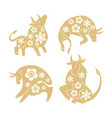 set golden ox with flowers silhouette vector image vector image