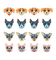 set of different breeds of dogs emoji emoticon vector image