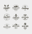 set vintage wilderness logos hand drawn retro vector image