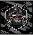 skull wearing a helmet riding an old motorcycle vector image vector image