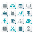 stylized business and office objects icons vector image vector image