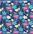 summer seamless pattern with flamingo vector image