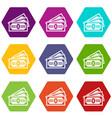 three dollar bills icon set color hexahedron vector image vector image