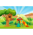 Treehouse and slides in the park vector image vector image