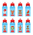 collection christmas labels with bows and elements vector image