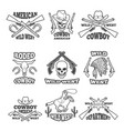 design template of wild west badges western theme vector image