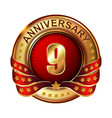 9 anniversary golden label with ribbon vector image vector image