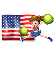 A cheerleader and the USA flag vector image vector image