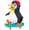a penguin playing skateboard vector image vector image