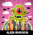 Alien Invasion Cartoon with Big Green Monster and vector image