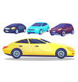 automobile collection set colorful modern cars vector image vector image