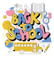 back to school cute colorful kids inscription vector image