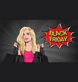 black friday message with beautiful girl holding vector image