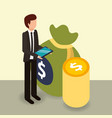 businessman holding mobile coins and bag money vector image vector image