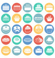 cake icons set on color circles white background vector image